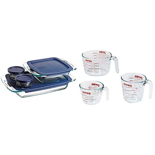 Pyrex Grab Glass Bakeware and Food Storage Set, 8-Piece, Clear & Glass Measuring Cup Set (3-Piece, Microwave and Oven Safe),Clear