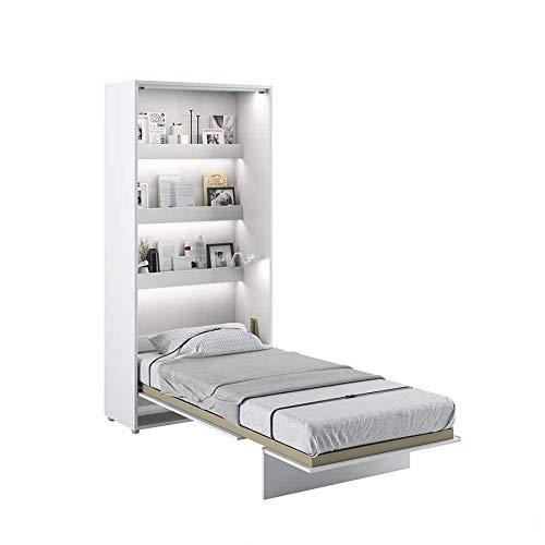 Cama plegable Bed Concept vertical 90 x 200 cm, color blanco lacado