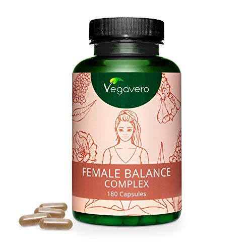 VEGAVERO® Female Balance Komplex für Frauen | Mönchspfeffer, Frauenmantel, Maca, Actrisave®, B-Vitamine und Mineralstoffe | Hormon Balance | Vegan | Laborgeprüft | 180 Kapseln | Ohne Zusatzstoffe