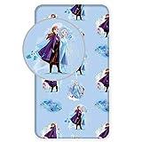 Disney - Sábana Bajera (90 x 200 cm, 100% algodón), diseño de Frozen