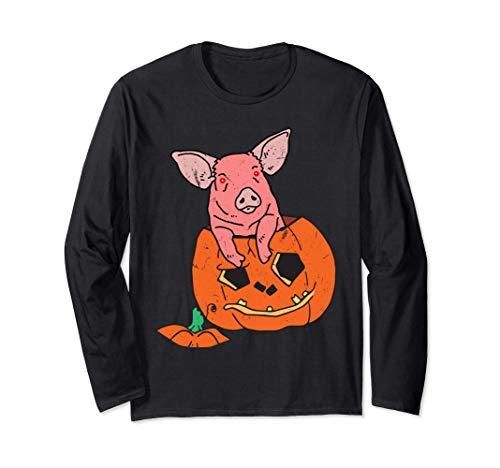 Halloween Creepy Piglets Cerdo Calabaza Vampiro Manga Larga