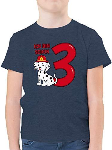 Geburtstag Kind - Ich Bin Schon 3 Feuerwehr Hund - 104 (3/4 Jahre) - Dunkelblau Meliert - Shirt ich Bin Schon 3 Feuerwehr Hund - F130K - Kinder Tshirts und T-Shirt für Jungen