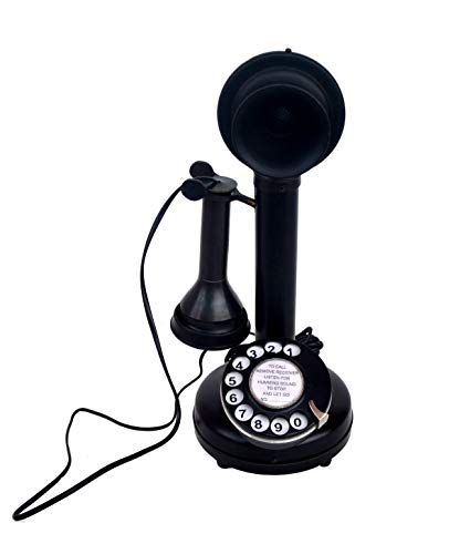 Antique Replica Rotery Dial Home Decor Candlestick Antique Finish Desk Telephone (Black 1)
