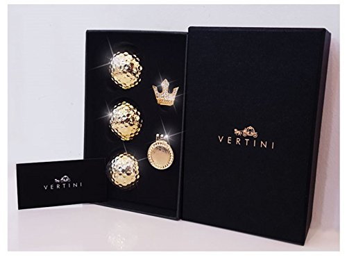 Vertini 24K Gold PT. Premium 3 Golf Balls + 1 Ball Marker with Hat Clip Set/Long Distance Golf Ball & High Visibility Ball Marker/Luxury and Fashionable Golf Accessory, Gifts for Men, Women