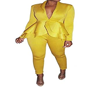 YRIBRA Sexy zweiteiliges Damen-Outfit mit Rüschen, weißer Blazer, Jacke, Oberteil und Hose, elegant, 2-teiliges Set