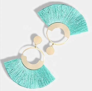 VZHEZEI Bohemia Women Round Resin Tassel Earrings(red) (Color : Light blue)