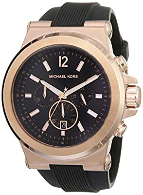 MICHAEL KORS MK8184 - Reloj analógico de cuarzo para hombre con correa de silicona, color negro de MICHAEL KORS