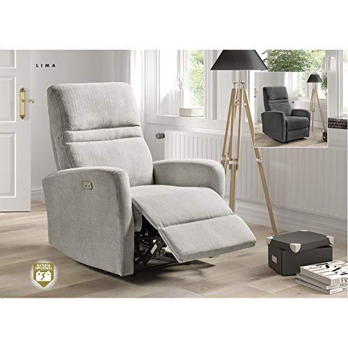 Sillón reclinable eléctrico con reposapiés, Sillón Relax eléctrico 1 Motor Modelo Lima (Gris Marengo)
