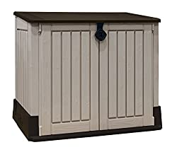 Ideal outdoor storage solution for garden tools and equipment, BBQ and accessories and x2 120L wheelie bins Elegant wood effect panels that opens from the top or the front and with a lockable feature for secure closure Heavy-duty floor with built-in ...
