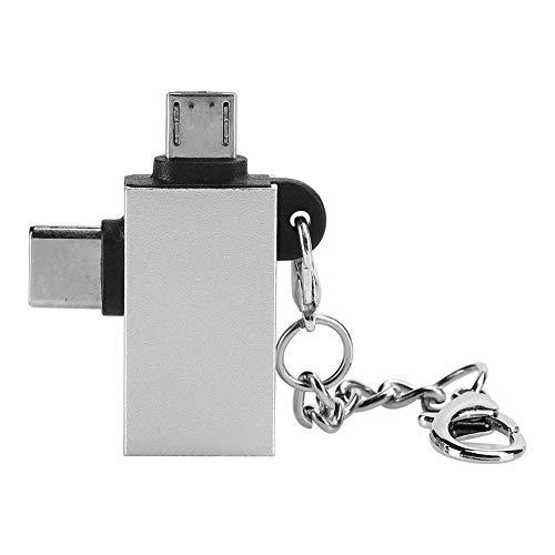 Fdit Adaptador USB C a Micro USB, 2 en 1 Multiuso Tipo C a USB 3.0 / Convector Micro USB, Conector OTG con Llavero Compatible con teléfono Android(Plata)