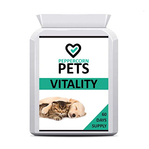 Pets Vitality Supplement for Dogs & Cats, Support Your Pets Overall Health and Vitality, Prevent Problems Caused by Nutritional Deficiencies, 60 Tablets, one-a-Day, 2 Months Supply. Peppercorn Health