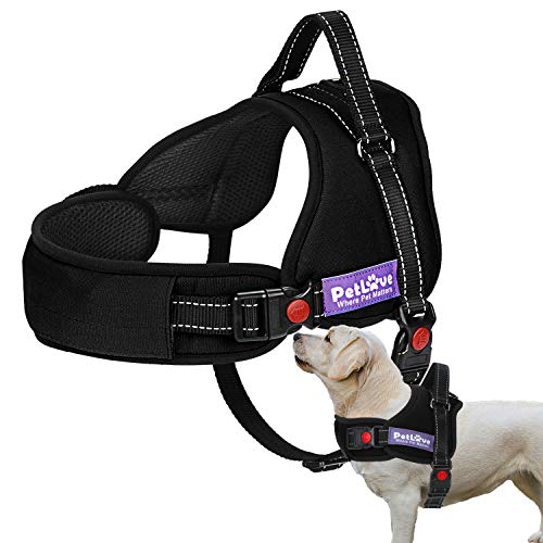 PetLove Dog Harness, Adjustable Soft Leash Padded No Pull Dog Harness for Small Medium Large Dogs, Black