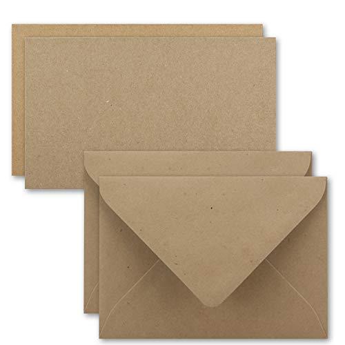Tarjeta de juego de sobre de papel kraft único de tarjetas DIN A710,5x 7,3cm, 410g/m² marrón con carta con sobres C7nassklebung, color A7 / C7 - Braun 25 Set