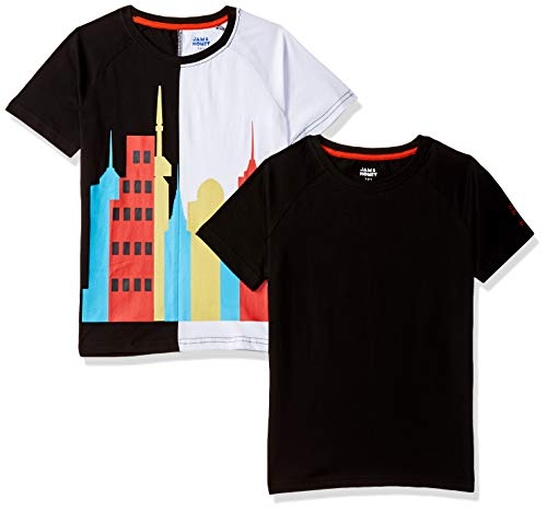 Amazon Brand - Jam & Honey Boy's Tribal Regular fit Cotton T-Shirt (SS19YBP02TEE154_Multicolor 14 7-8 Years)
