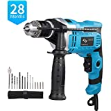 850W Hammer Drill, Tilswall Impact Drill 3000 RPM Hand Electric Cored Percussion Drill with Drill Bits Set,...
