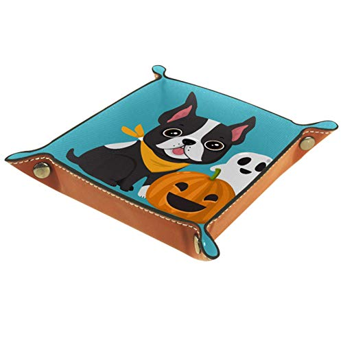 Mapotofux Ring Dish Jewelry Holder Trinket Tray Best Gifts for Women Pumpkin with A Funny French Bulldog