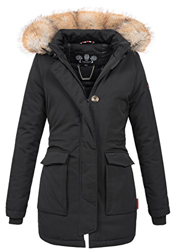 Navahoo Damen Winter Jacke Parka Mantel Winterjacke warm gefütterte Kapuze B612 [B612-Schnee-Schwarz-Gr.XS]
