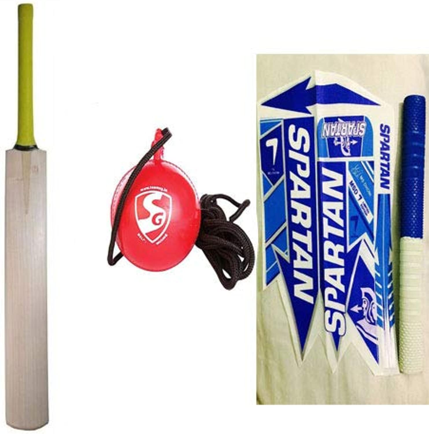 WW Plain Kashmir Willow Bat Grade with SG iball with Cord, Adult and Free Spartan MSD 7 Bat Sticker with Grip
