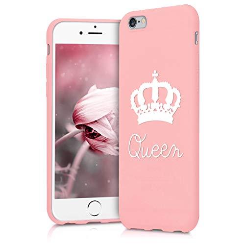 ZhuoFan Funda iPhone 6s / 6, Cárcasa Silicona Rosa con Dibujos Diseño Suave Gel TPU Antigolpes de Protector Piel Case Cover Bumper Fundas para Movil Apple iPhone6s / iPhone6, Reina Blanca