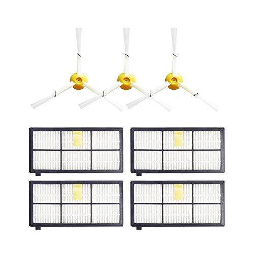 QIBIN Juego de extractores de desechos sin enredos y cepillos laterales y filtros Hepa de repuesto para IRobot Roomba 800 Series 870 880 900 Series 980 (color: HXL042) (color: Hfm 148)