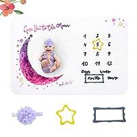 NUOBESTY 新生児の背景毛布フランネル赤ちゃん毎月のマイルストーン毛布写真毛布小道具新生児のシャワーの写真(100 * 150センチ)