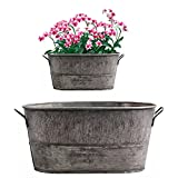 Galvanized tubs for Garden, Galvanized Water Trough,Vintage Style Oval Zinc Galvanised Metal Garden Planter, Flowers Metal Planter Tubs, Pots Buckets Home Garden Supplies Outdoor Party for Home.