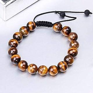 FOKLC Bracelet Gifts for Men Tiger Eye Natural Stone Bead Men's Bracelet Handmade Adjustable Braided Rope Bracelets for Wo...
