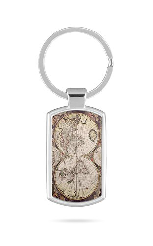 Schlüsselanhänger mit Gravur Wunschtext Name Globus Weltkarte
