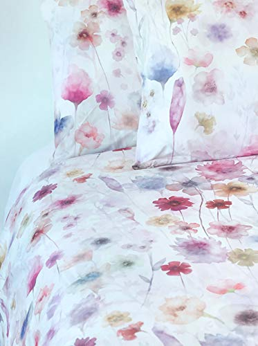 Piubelle Premiere 3pc Duvet Cover Set Watercolor Floral Pattern in Shades of Pink Blue Peach Purple Flowers Quilt Comforter Cover 100% Cotton Luxury Made in Portugal (King)