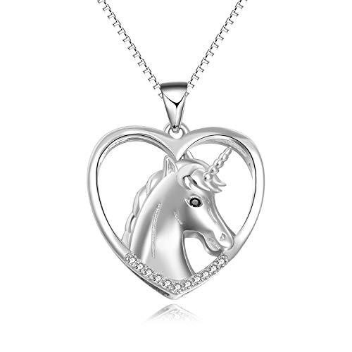 Einhorn Halskette Anhänger Sterling Silber Einhorn Schmuck Geschenk für Frauen, Mädchen, Kinder