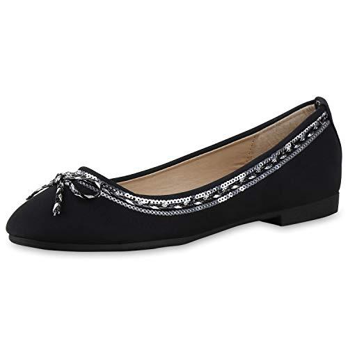 SCARPE VITA Damen Ballerinas Pailletten Metallic Flats Slipper Schuhe 165889 Schwarz 38