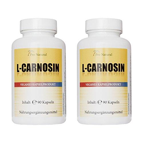 L-Carnosin 500mg reines Carnosin pro Kapsel 180 vegetarische Kapseln (2 Dosen a 90 Kapseln)