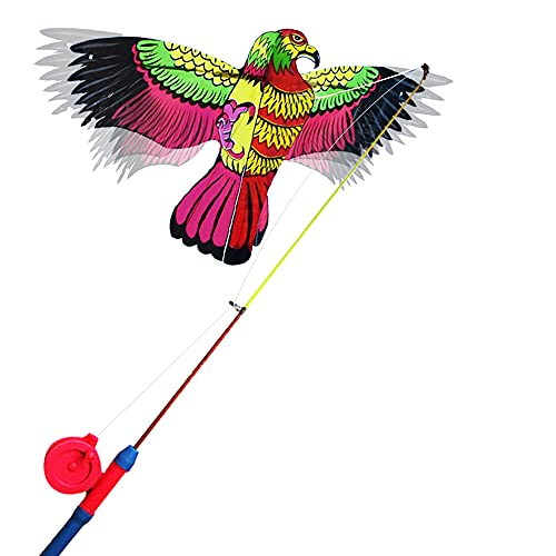 Alas dinámicas con aleta cometas con caña de pescar,las alas aleteadas en el viento como un águila mariposa golondrina real,las alas de las cometas simuladas se aletean libre y automáticamente (Eagle)