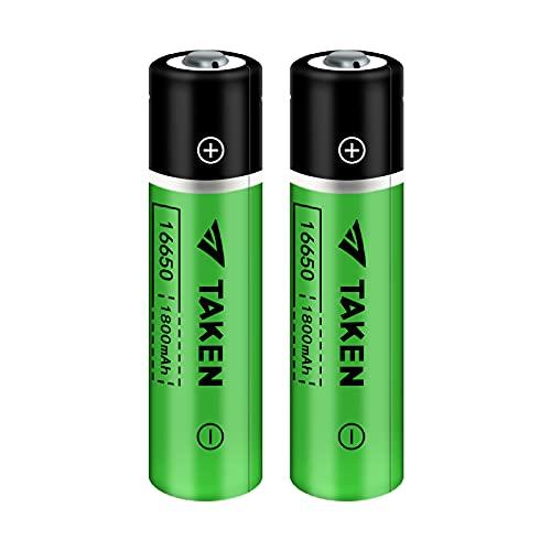 16650 Rechargeable Battery, Taken 16650 Battery 1800mAh 3.7V Li-ion Rechargeable Battery with Button Top for Flashlights Torches - 2 Pack