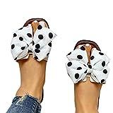 Aniywn Women Flat Sandals Slides Bowknot Slip On Open Toe Sandals Slipper Bohemian Flip Flops Slippers Sandals White