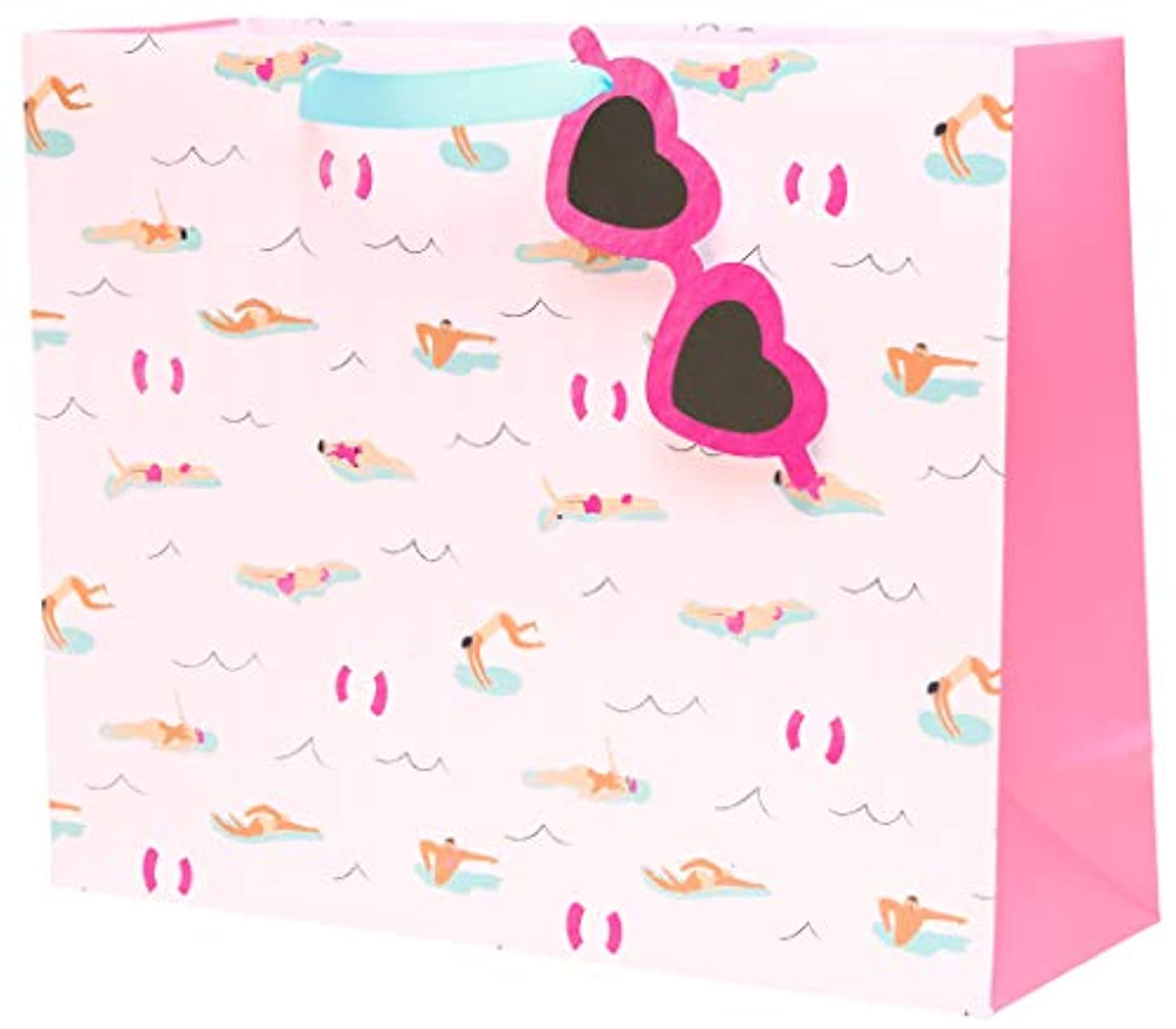C.R. Gibson Pink Beach Themed Large Gift Bag with Gift Tag, 12.5'' W x 10.25'' H x 4.3'' D