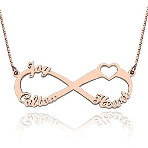Loveu Jewelry Unendlich Namenskette Stil 24K Gold/18K Rose Gold/925 Sterling Silber Personalisiert mit Ihrem Eigenen Wunschnamen Halskette für Männer/Frauen Roségold