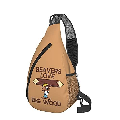 Mochila de viaje Senderismo Bolsa de pecho Beavers Love Big Wood Crossbody Shoulder Chest Bag For Travel Hiking Casual Daypack