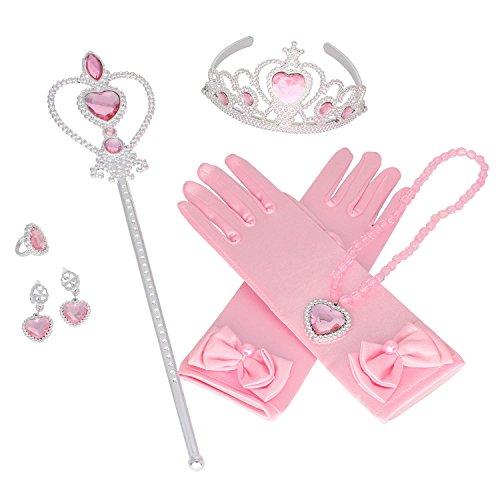 Princesa Corona Tiara Mariposa Varita Guantes Azul Cosplay Accesorios de Vestir Set de 5