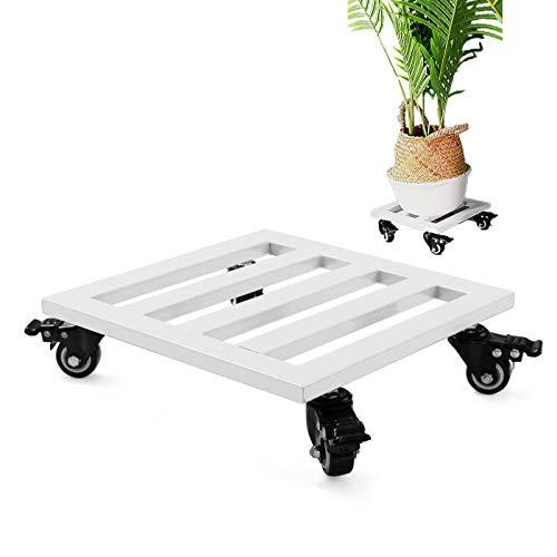 HOME COMPOSER Soporte cuadrado de metal de 25 cm con ruedas, utilidad blanca resistente para plantas rodantes con freno, carga máxima de 120 kg