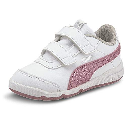 PUMA STEPFLEEX 2 SL VE Glitz FS V I, Zapatillas para Niñas, Blanco White/Foxglove/Gray Violet Silver, 24 EU