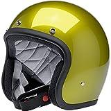 Casco Jet abierto Biltwell Bonanza amarillo metálico Sea Weed homologado DOT Helmet Biker Look estilo universal para género Custom Vintage Retro años 70 Off-Road Street Talla XS