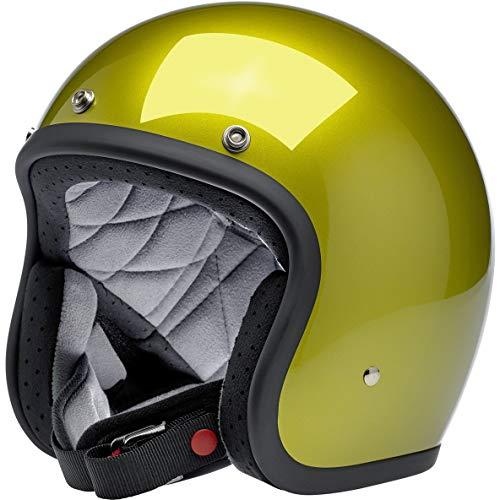 Casco Jet Aperto Biltwell Bonanza Giallo Metallic Sea Weed Approvato DOT Helmet Biker Look Stile Universale x Genere Custom Vintage retrò Anni 70 off-Road Street Taglia S