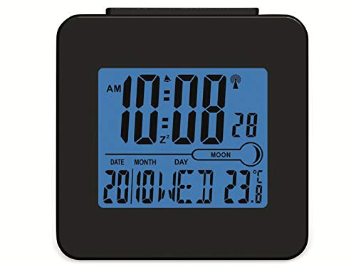 Denver REC-34 Alarmwecker (LCD-Display, Innentemperatur, Hintegrundbeleuchtung) blau/schwarz