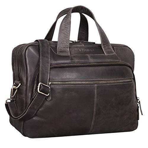 """Stilord Lias męska torba na ramię, duża, skórzana, styl vintage, torba biznesowa, torba na laptop o przekątnej ekranu 40 cm (15,6""""), do pracy, biura, na uniwersytet, ciemny – brązowy, l"""