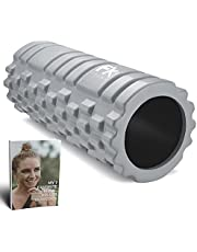FFEXS Foam Roller Grid Massage Roller met Digitaal Trainingsboek - Perfect voor Trigger Point Massage van Rug Benen Billen Fysiotherapie Pijn Stilling - Ideaal voor Hardlopen Fietsen Voetbal Fitness - 1 Jaar Garantie - Grijs