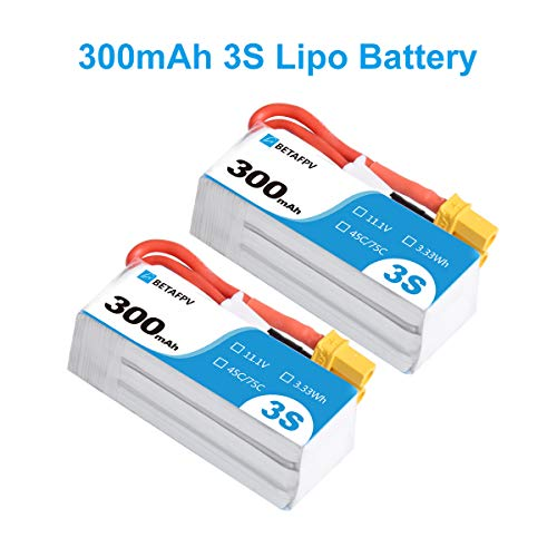 BETAFPV 2pcs 300mAh 3S R-Version Lipo Battery 45C/75C 11.1V XT30 18AWG Silicone Wire for Beta75X 3S Micro Quadcopter Whoop Drone FPV Racing Drone