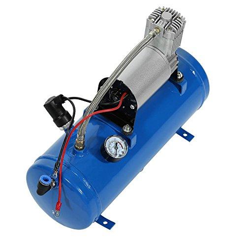 Compresor de aire, inflador de neumáticos, bomba de aire portátil para vehículos de 12 V, compresor de aire de 150 psi, con depósito de 6 litros e interruptor de protección de temperatura