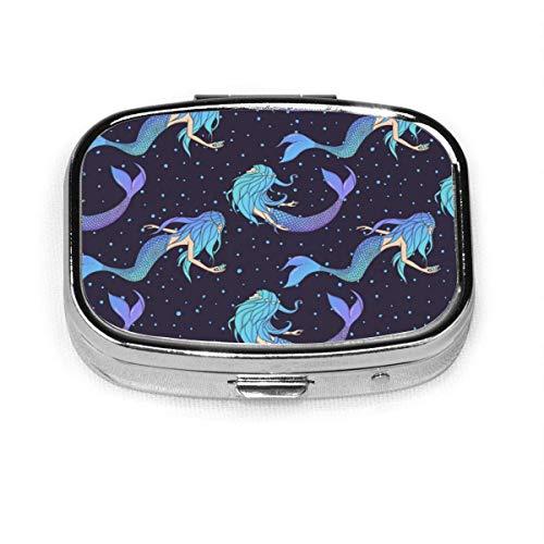 Hermoso patrón de sirenas sin costuras bajo el agua personalizado cuadrado pastillero titular de la tableta de bolsillo bolso organizador caja de decoración