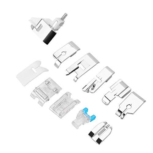 Bellaluee 11 unids/Set Accesorios de máquina de Coser eléctrica doméstica Profesional Mini Juego de Piezas de Repuesto de prensatelas multifunción